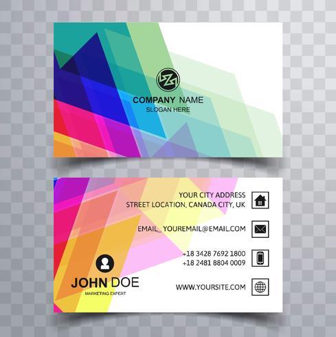 Elegant colorful business card template design