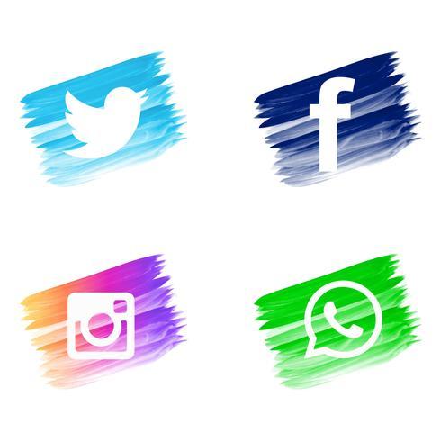 Beautiful watercolor social media icons set