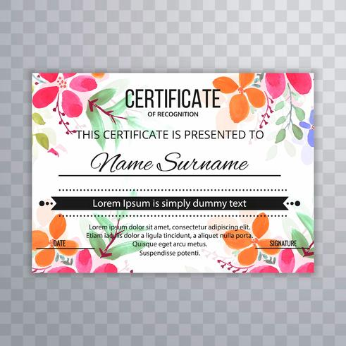 Beautiful certificate floral template background