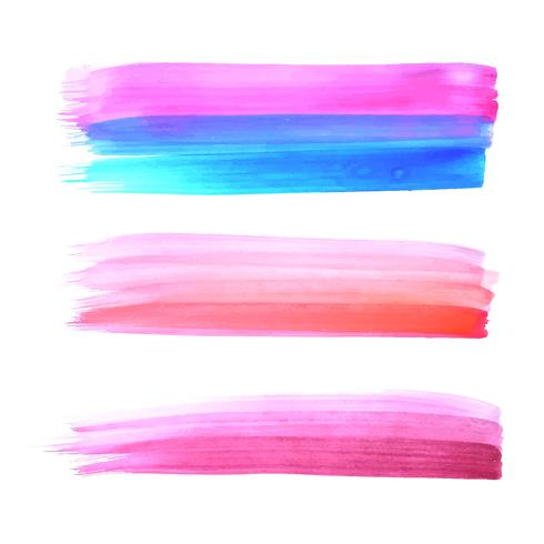 Elegant colorful hand draw watercolor stroke set