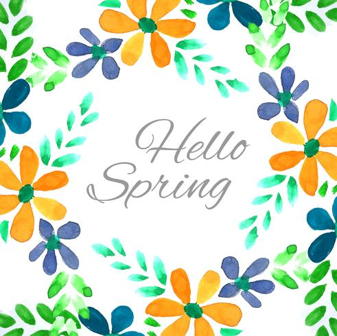 Modern colorful spring floral watercolor background