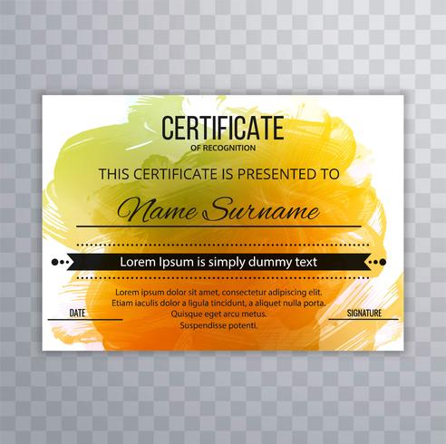 Beautiful certificate template watercolor design vector