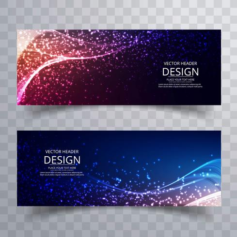 Abstract colorful shiny glitters banners set