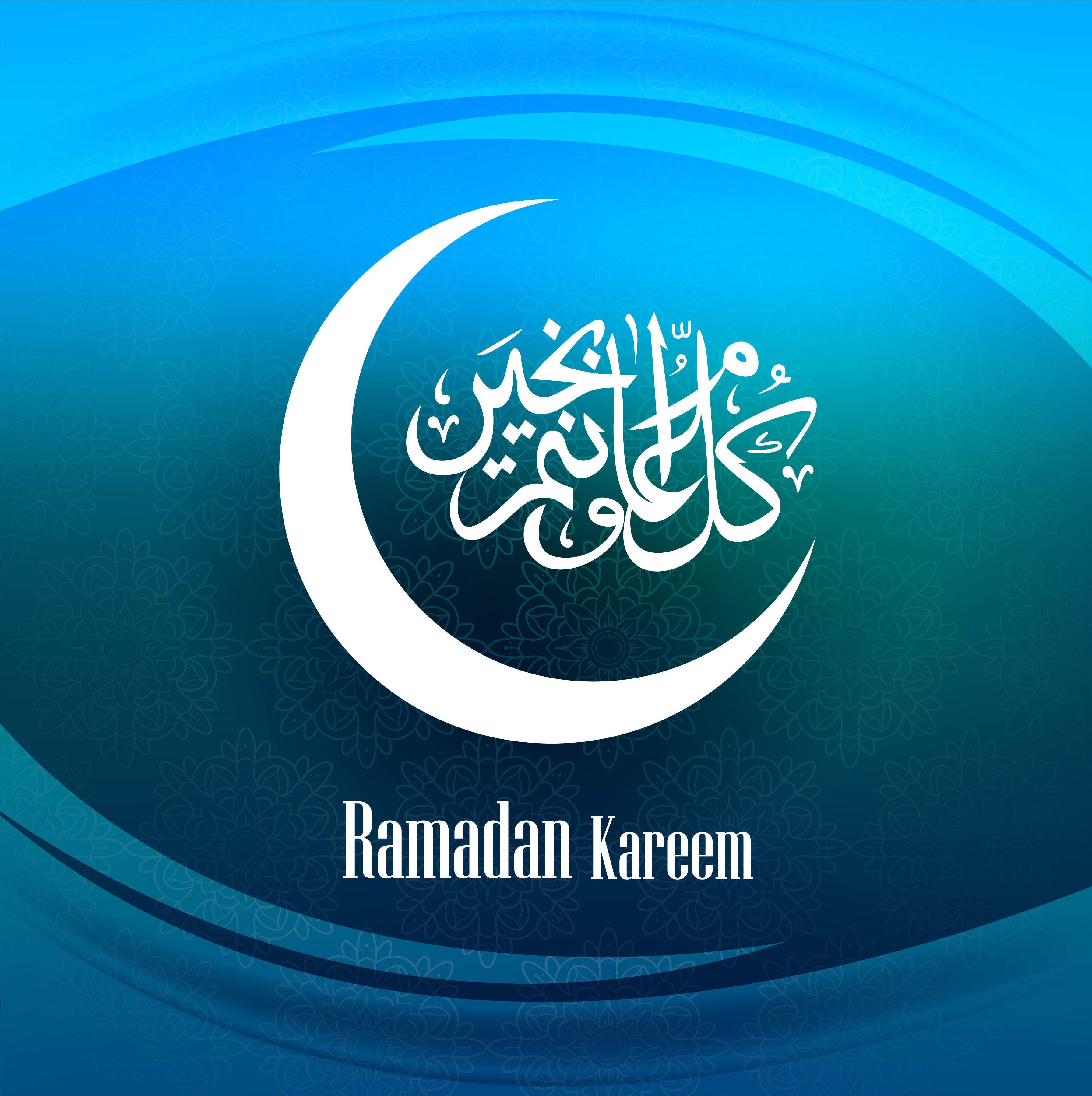 Ramadan Kareem Greeting Card Blue Background Download Free Vector