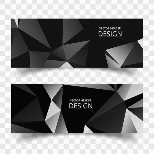 Elegante conjunto de banners de forma poligonal gris vector