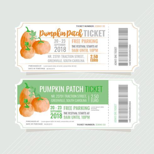 Vektor Kürbis Patch Ticket