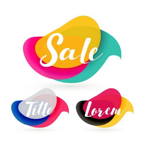 etichetta di vendita colorata forma astratta