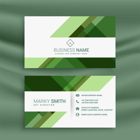 conception de carte de visite abstraite verte