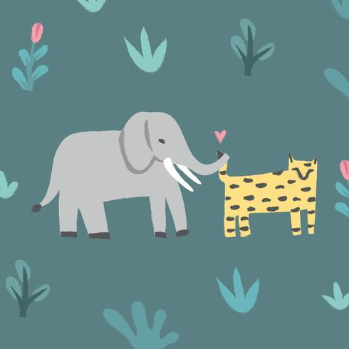 Éléphant et tigre dans la jungle