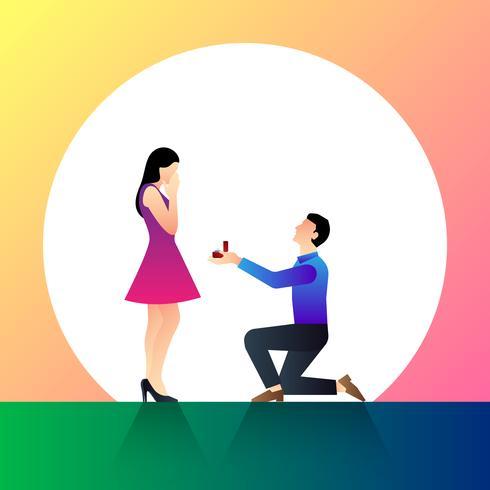Auf seinem Knie aufstehen Ein Mann schlägt vor, eine Frau, Vektor-Illustration zu heiraten