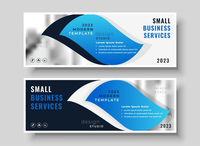 stylish blue business banner design template download free vector