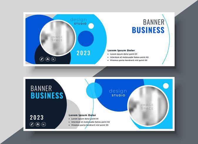 plantilla de banner de negocios círculo azul creativo