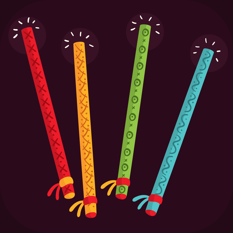 colorful dandiya sticks vector