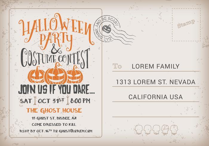 Modèle d'invitation de cartes postales de fête d'Halloween et de concours de costumes