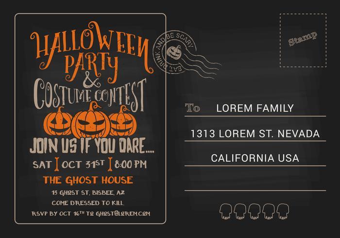 Fiesta de Halloween y plantilla de invitación de la postal del concurso de disfraces
