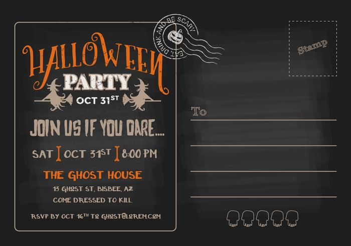 Halloween-partij RSVP briefkaart uitnodiging sjabloon