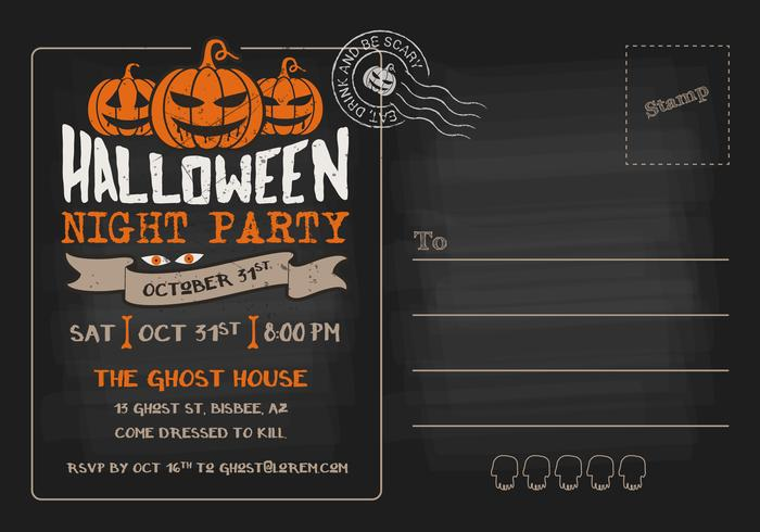 Halloween Night Party Rsvp Postcard Invitation Template Download