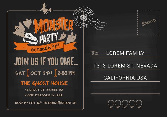Inbjudanmall för Halloween Monster Kostymparty.