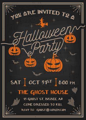 Typography Halloween Party Invitation card vector