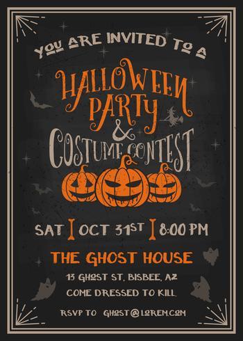 Inbjudan för Halloween party och kostymtävling med läskig pumpkinsdesign