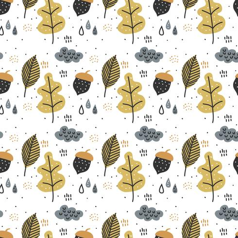 Doodle Fall Pattern Vector