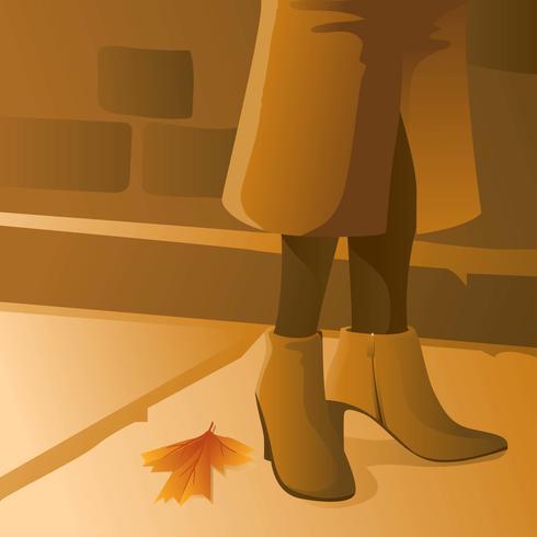 Vetor de moda de botas de outono