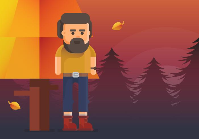 Homem barbudo com botas de outono