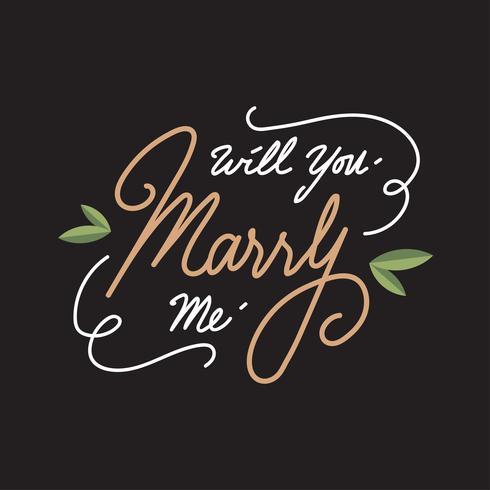 Wil je met me trouwen. Brief Vector