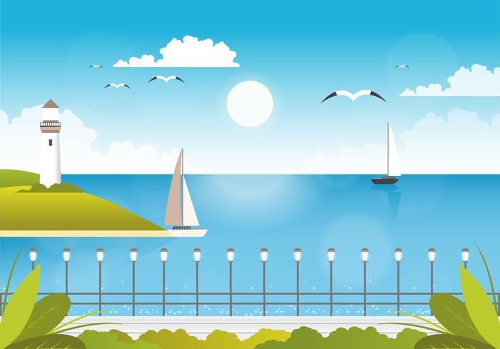 Vector Beautiful Seascape Illustration