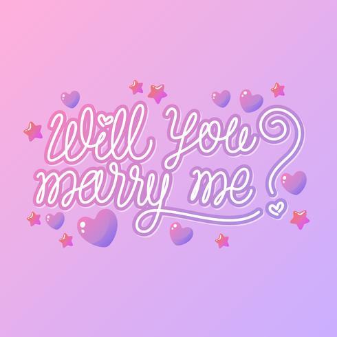 Lettrage à la main Veux-tu m'épouser Vecteur de proposition d'engagement
