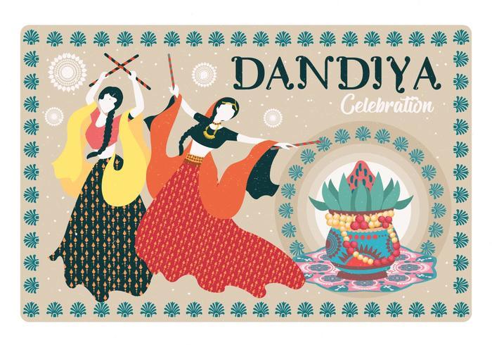 Dandiya And Garba Posters Vector