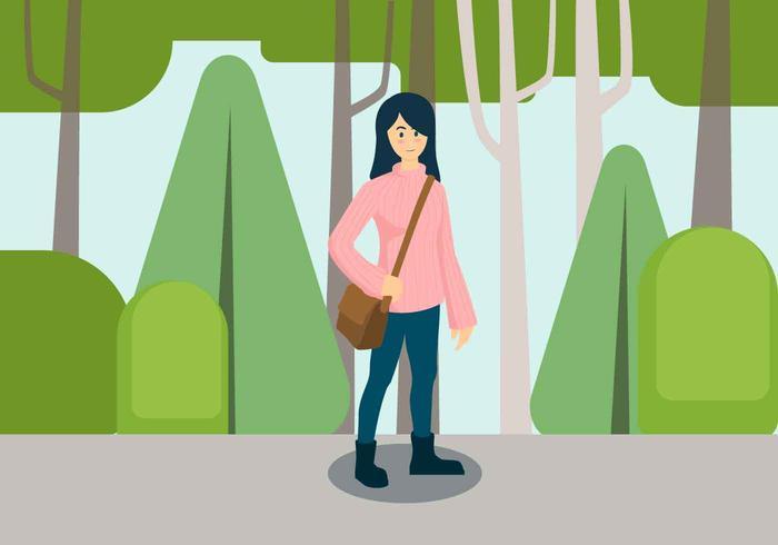 Garota em ilustração em vetor moda outono