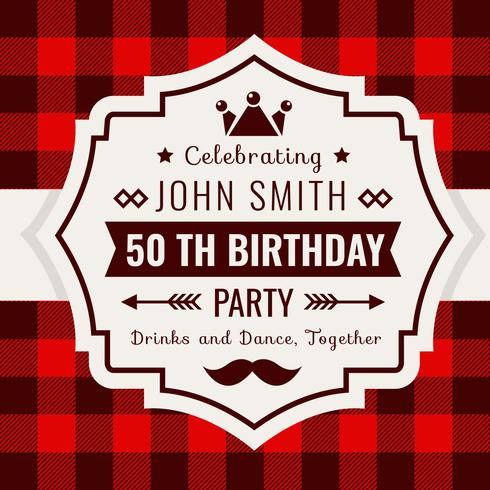 Estilo de xadrez de búfalo de convite de aniversário