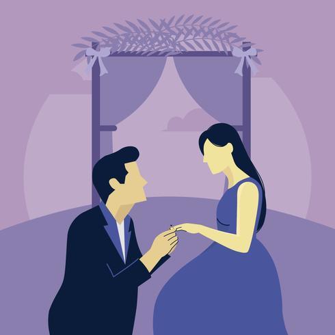 Förlovningsförslag Vektorillustration