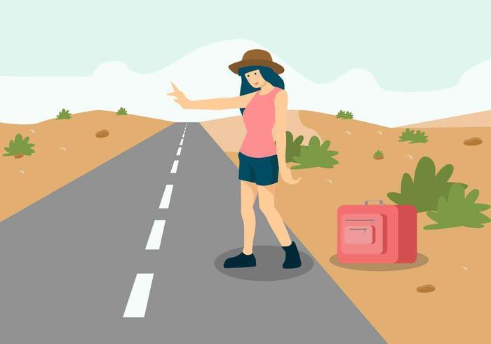 Ilustración de Hitch Hiker Vector