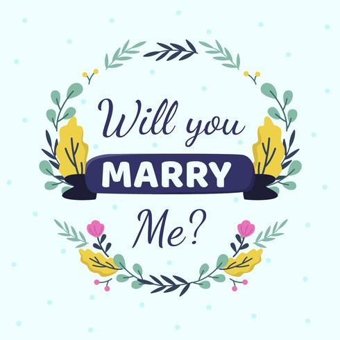 ¿Te casarías conmigo? Vector de plantilla de tarjetas