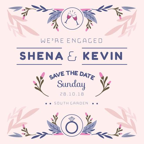 We're Engaged Invitation Template Vector