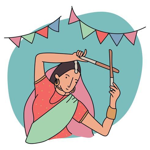 Girl Dancing With Dandiya Sticks