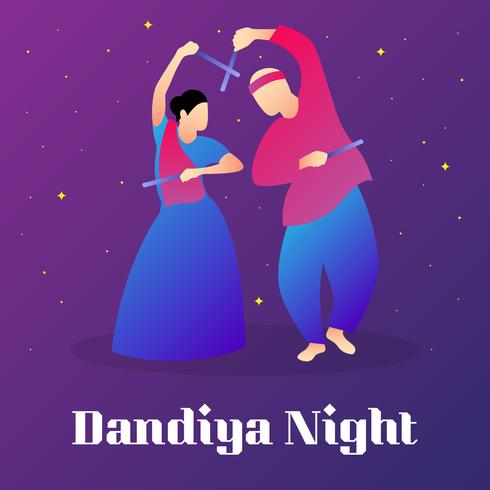 Couple Playing Dandiya In Disco Garba Night Poster Illustration
