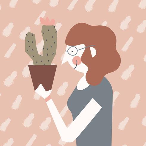 Meisje met Cactus en glazen