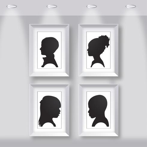 Kids Silhouettes on Frame Vector
