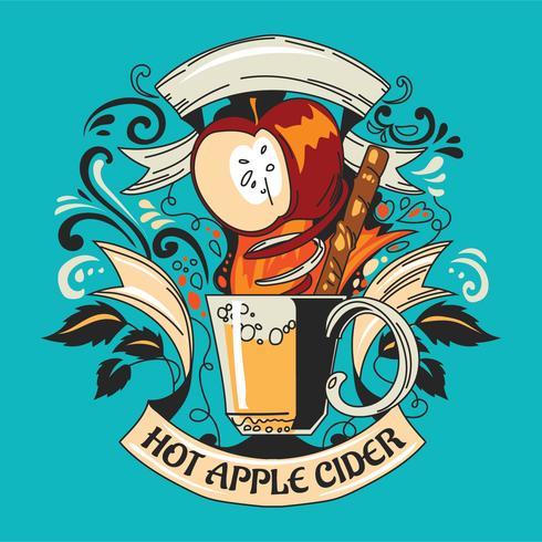 Hand getrokken Doodle warme drank Apple Cider