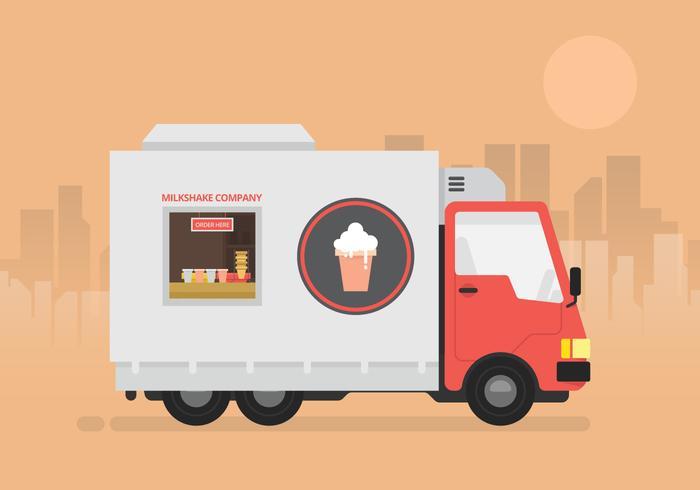 Milkshake truck cafe logo or illustration