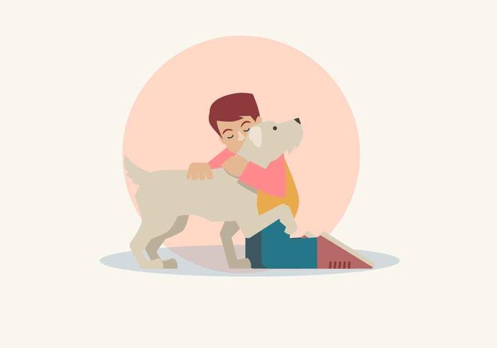 Boy And His Dog Vector Illustration