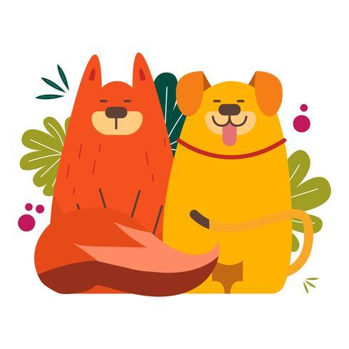 Netter Hund und Fox unwahrscheinlich Tierpaar