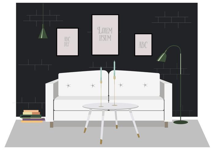 Vector ilustración de muebles de sala de estar