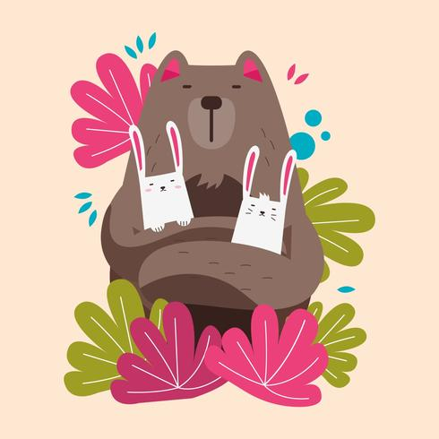 Cute Bear and Rabbits Animal Pairs