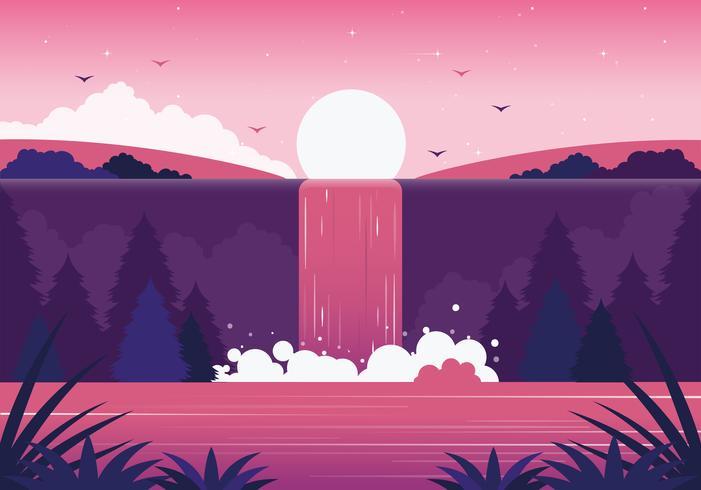 Vector hermosa cascada ilustración