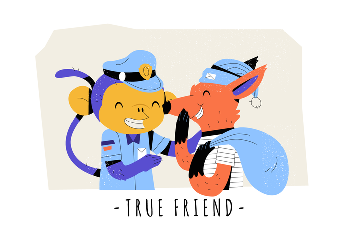 Sann Vänskap Rolig Monkey And Fox Vector Flat Illustration