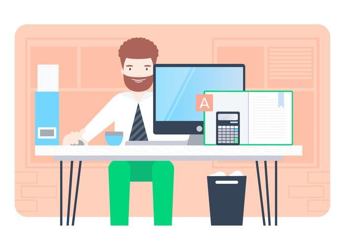 Vector Designer at Desk Illustration